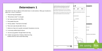 Determiners Activity Sheet - worksheet, determiners, quantifiers, articles, homework, grammar, spag