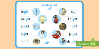Spelling igh Words Display Poster - CfE Outdoor Learning, nature, forest, woodland, playground, empty classroom day, spelling, grammar,