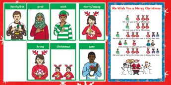 BSL We Wish You a Merry Christmas Song Sheet - BSL Christmas Resources, Christmas, Sign Support, British Sign Language, Signed Christmas Songs, Sig