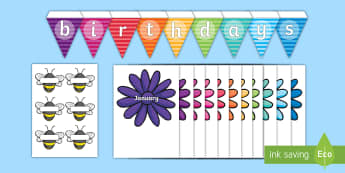 Buzzy Bee Birthdays Display Pack - birthdays, graph, pictograph, months, display, birthday display, bunting, bee display, flower displa