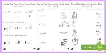 Rise and Shine Phonics Short 'i' Morning Activity Sheets - short vowels, short i, morning work, phonics, vowels, worksheets