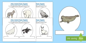 Polar Animal Finger Puppets English / Romanian - The Arctic, Polar Regions, north pole, south pole, explorers,Romanian-translation