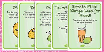 Mango Lassi Diwali Recipe Cards - cooking, cook, recipes, hindu