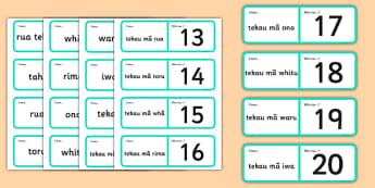 Numbers 1-20 Loop Cards Te Reo Māori - te reo māori, new zealand, nz, loop cards