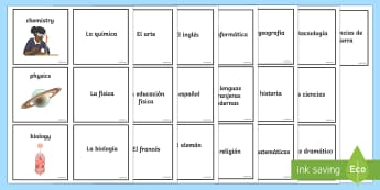 School Subjects Matching Cards