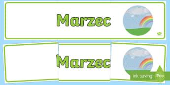 Banner na gazetkę Marzec - banner, baner, gazetka, ścienna, wiosna, wiosenna, marzec, marca, marcowe, miesiące, nazwy, miesi