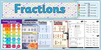 Fractions Display Pack LKS2 - fractions, display pack, lks2