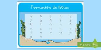 El pez arcoiris tapiz de formación de letras - Bajo el mar, proyecto, escritura, caligrafía, escribir, formar letras, motricidad fina,Spanish