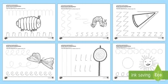 Pencil Control Activity Sheets to Support Teaching on The Very Hungry Caterpillar - The Very Hungry Caterpillar Pencil Control Worksheets - the very hungry caterpillar, pencil control