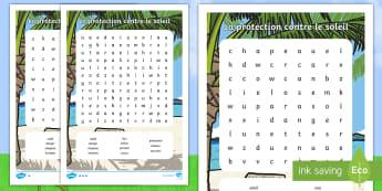 Mots mêlés différenciés : La protection contre le soleil - la protection solaire, soleil, mots mêlés, orthographe, vocabulaire, l\'été, été, sun safety