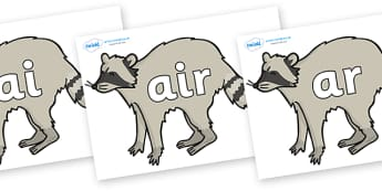 Phase 3 Phonemes on Racoons - Phonemes, phoneme, Phase 3, Phase three, Foundation, Literacy, Letters and Sounds, DfES, display