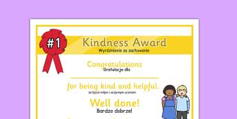 Kindness Award Certificate Polish Translation - polish, kindness award, certificate, kindness, award