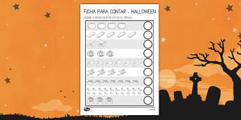 Halloween Ficha para contar