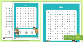 'are' Sound Differentiated Word Search - phonics, jolly phonics, jolly grammar, reading, spelling, writing, Irish