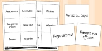 French Classroom Instructions Vocabulary Flashcards - french