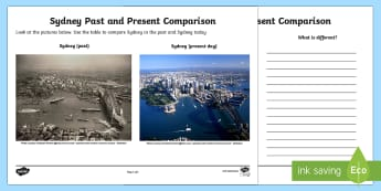 People and Places - Sydney Past and Present Activity Sheet - People and Places, Geography, English, Compare, Contrast, Venn, Diagram, worksheet, Australia
