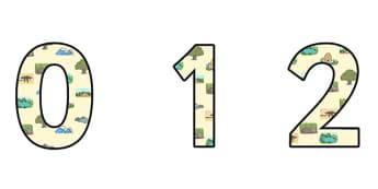 Habitats Small Display Numbers - habitats, habitats display, habitats themed numbers, habitats numbers, habitats 0-9 numbers, habitat themed numbers