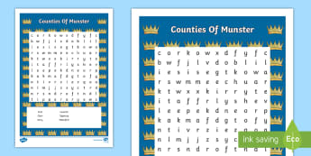 Counties of Munster Word Search - Counties of Ireland, Irish