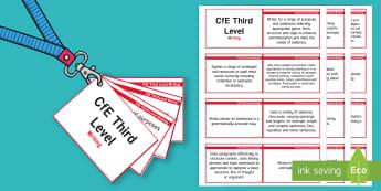 CfE Third Level Writing Lanyard-Sized Benchmarks - third level writing benchmarks assessment, cfe, scotland, literacy, writing, english, 3rd level, cur