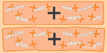Maths Sign Display Banners (Addition) - Maths sign, maths signs, display banner, math, poster, addition, add, adding, plus, more, Numeracy, Foundation numeracy, Maths Vocabulary