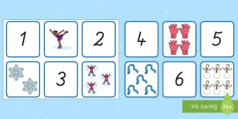 Winter: Zahlen und Bilder von 1 bis 10 Puzzle Spiel - Zahlen, 1 bis 10, Winter, Memory Spiel, Mathe Spiel,German