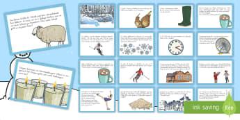 Der Winter: Mathematik Quizkarten - Maths, challenge cards, winter, Mathe, Rästel, Quiz, Winter, Rechnen,German