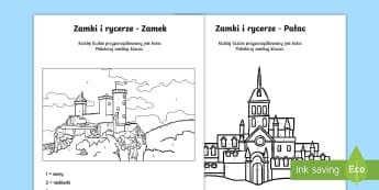 Kolorowanki z liczbami Zamki i rycerze  - zamek, zamki, księżniczka, król, królowa, bajka, zamki, pałace, rycerze, rycerz, matematyka, ko