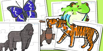 Jungle Animal Jigsaws - animals, jigsaw, games, animal games