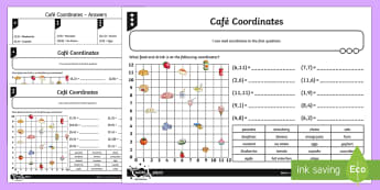Cafe Coordinates Differentiated Activity Sheets - Position, direction, coordinates, first quadrant