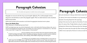 Paragraph Cohesion Worksheet - paragraphs, cohesion, conjunctions, adverbials, transitions words