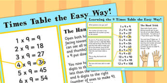 9 Times Table The Easy Way Poster - multiply, poster, 9, display, times table, times tables