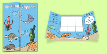 Under the Sea Themed Blank Spelling Zapper - spelling zapper, spell, spelling, zapper, dyslexic, dyslexia, learn, tricky words, personalise, words, blank, under the sea