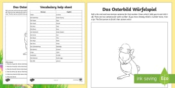 Easter Bunny Dice Game Read and Draw Activity Sheet German - Easter, Ostern, Easter bunny, Read and Draw, Spring, German, Game, Dice Game