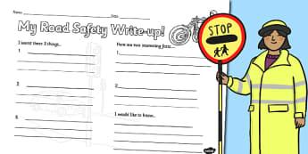 Road Safety Write Up Worksheet - road safety, write up, worksheet