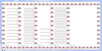 St George's Flag Portrait Page Borders- Portrait Page Borders - Page border, border, writing template, writing aid, writing frame, a4 border, template, templates, landscape
