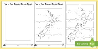 Map of New Zealand Jigsaw Puzzle - Aotearoa, New Zealand, literacy, my place, jigsaw, puzzle, map, cities,