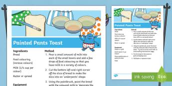 Painted Pants Toast Recipe - Aliens Love Underpants, Claire Freedman, space, alien, pants, underwear, snack, cooking, bread, toas