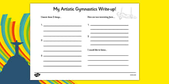 The Olympics Artistic Gymnastics Write Up Worksheet - olympics, artistic gymnastics, artistic, gymnastics, write up, worksheet