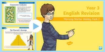 Year 3 English Revision Morning Starter Weekly  PowerPoint Pack 2 - KS2 English Assessment Materials, KS2, assess, review, moderate, track, english, literacy, reading,