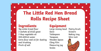 The Little Red Hen Bread Rolls Recipe Sheet - recipes, cooking