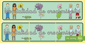 Pancarta: Mentalidad de crecimiento - pancarta, mentalidad, mentalidad de crecimiento, desarrollo, emocional, madurez, exposición, expone