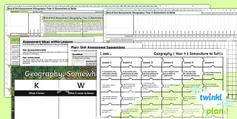 PlanIt - Geography Year 4 - Somewhere to Settle Unit Assessment Pack - geography, settlement, settlers, land use, somewhere to settle, assessment, kwl grid