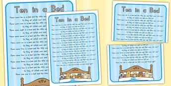 Ten in a Bed Nursery Rhyme Poster - australia, nursery, rhyme