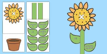 Floarea cu vocabularul înmulțirii - înmulțire, planșe, vocabular, matematică, tabla înmulțirii,Romanian