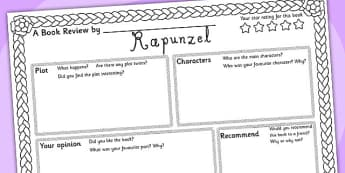 Rapunzel Book Review Writing Frame - rapunzel, book review, book, review, writing frame, writing, rapunzel writing frame, book review writing frame