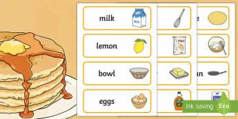 Pancake Day Recipe Word Cards - recipe, word, cards, pancake day
