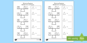 Balancing Multiplication and Division Equations Activity Sheet - algebra, uknowns, equations, multiplication, division, worksheet