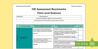 CfE Third Level Sciences Assessment Benchmarks Assessment Tracker - CfE Benchmarks, tracking, assessing, progression, science, planning, third level, curriculum for exc