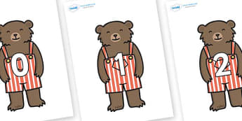Numbers 0-50 on Little Bear - 0-50, foundation stage numeracy, Number recognition, Number flashcards, counting, number frieze, Display numbers, number posters