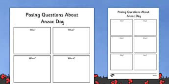 Posing Questions About ANZAC Day Worksheet - australia, ANZAC Day, commemoration, First World War, WW1, World War One, information, PowerPoint, History, Dawn Service, parade